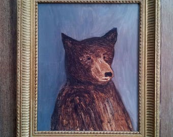 Teddy Bear, Antique Oil Painting from the last Century, Museum Quality, Mint Condition!