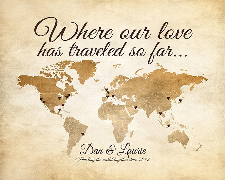 world map personalized gifts gift for travel couple anniversaries places traveled where our love has traveled first anniversary wf202