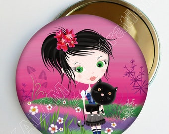 "Pocket mirror ""Girly"" pink, black cat, accessory bag, girl gift, made here, and girl"