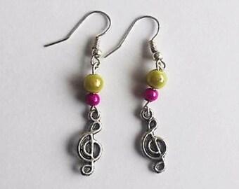 Fancy beads and treble clef earrings