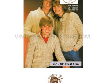 """Ladies mans and childrens cable & texture, crew neck, zipped, aran jacket coat 26"""" - 48"""" chest - Vintage PDF Knitting Pattern 1387"""