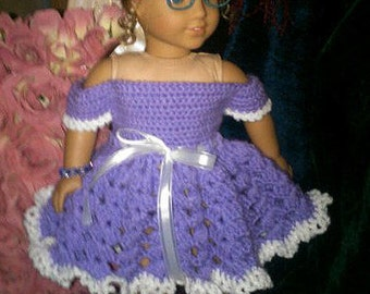 """Crochet Pattern for Sweet Party Dress - Fits AMERICAN GIRL or 18"""" Dolls"""