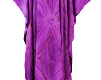 Purple Tie Dye Caftan Kaftan Maxi Long Dress 1X 2X 3X 4X