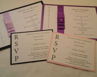 Satin bow budget wedding invites