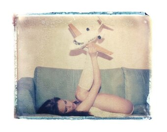 Polaroid Transfer Girl with Toy Airplane 11x14 inch image-signed by Matt Schwartz