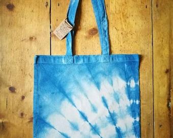 Shibori tie dye indigo tote bag handbag shopping bag avocado dye natural dye