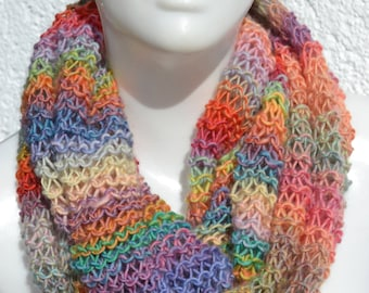 Loop scarf tube scarf snood  Merino knitted colorful heather pastel