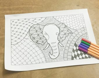 Elephant Colouring Page, Adult Coloring Sheet, Zen doodle Colouring sheet, Instant Download, DIY Printable for a Friend