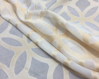 """P Kaufmann 54"""" Sheer Fretwork Ivory Gold  By the yard"""