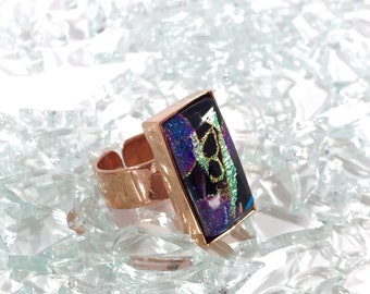 fused glass adjustable copper ring in purple-blue, black and metallic green