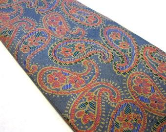 "Vintage Rajas Silk Paisley Necktie 4"" Wide Tie"