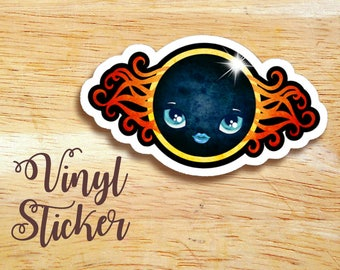 Total Solar Eclipse Die-cut Vinyl Sticker Decal, Moon Face Sticker
