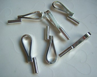 6 Pieces of Lead Safe Silver Plated OR Gold Plated Brooch/Pin Converter Bail -- Vertical, 30.5x9.5mm (You Pick The Color)