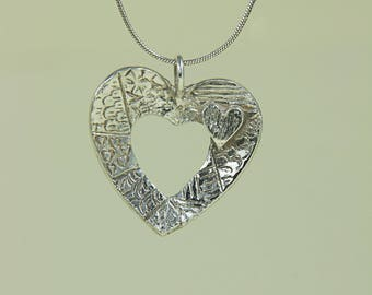 Fine Silver Handcrafted Heart on Heart Pendant