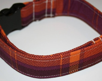 The Plum Plaid Adjustable Dog Collar