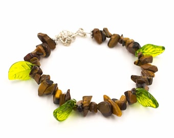 Gold Tigers Eye with Leaves Gemstone Clasp Bracelet