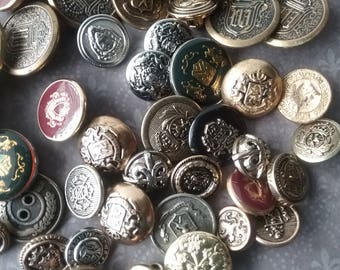 Vintage Crest Buttons, Coat of Arms, Heraldry, Nobility, Lot of 73 Mixed Metal Buttons, Shields, Collectible, Royal Crests, Crowns, B8