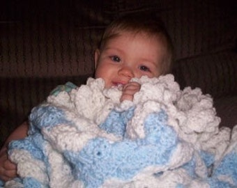 Blue and White Striped Hand Crocheted Baby Blanket
