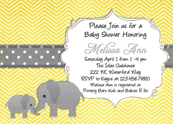 Yellow elephant baby shower invitation yellow and gray like this item filmwisefo Images