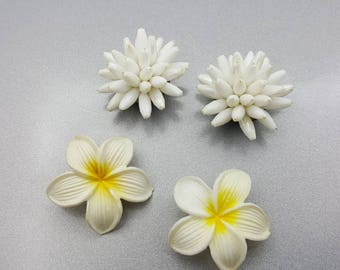 White Flower Clip earrings 2 pair Cluster and Blossom style