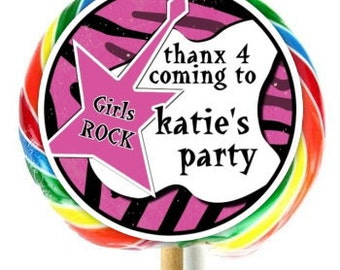 Girls Rock Birthday Stickers, Girls Rock Labels, Lollipop Stickers, Extra Large Personalized Stickers, Fit on WHIRLY LOLLIPOPS,