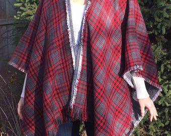 Mad for plaid reversible poncho