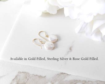 Rose Gold Filled, Sterling Silver, Gold Filled Freshwater Coin Pearl Earrings. Wedding, Birthstone, Bridesmaids Gifts, Custom Jewelry Card.