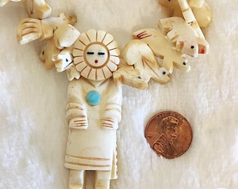 Carved Antler Kachina Totem Necklace with Turquoise