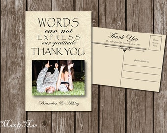 Wedding Postcard Thank You, Bridal Shower Thank You, Words Can't Express Card, Printable, Digital