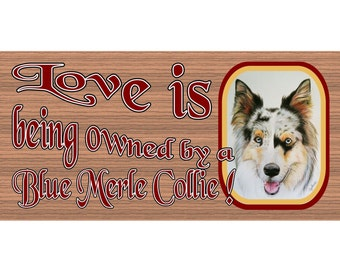 Collie Wood Signs -Love is Being Owned by a Blue Merle Collie GS1673  Wood plaque Primitive