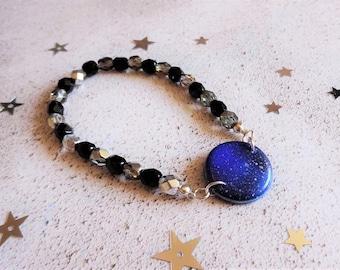 Elasticated galaxy bracelet, Galaxy jewellery, Blue space bracelet, Strechy black and silver, Star bracelet,Night sky, The Galaxy Collection