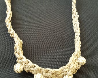Crochet Hemp Necklace with Beads