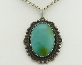 Sterling Silver 925 Vintage Turquoise Pendant On Sterling Chain 20'' Long
