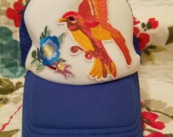 Blue Trucker Hat With Bird and Flowers
