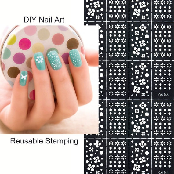 Reusable Stamping Tool DIY Nail Art Template Stickers Stamp Stencil ...