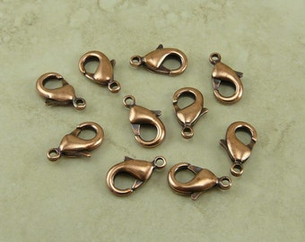 10 TierraCast Small Lobster Claw Clasps > 12mm x 7mm Closure Clip Spring Finding - Copper Plated Lead Free I ship Internationally 0110