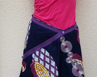Skirt woman WAX fabrics Blue Navy pink and yellow creating UNIQUE and original