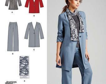 Simplicity Sewing Pattern 1073 Misses' Pants, Coat or Jacket, Scarf and Knit Top