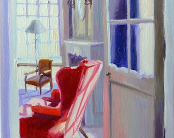 OULAP SE ROOI. Art print, Original art work, painting of beautiful interior, red chair, French window