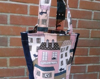 Wine bag in canvas and denim, cats on the roof print.