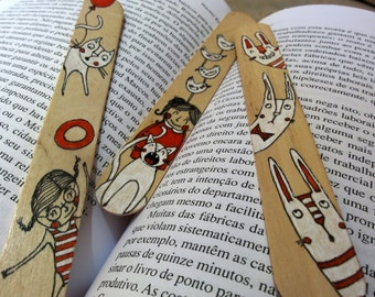 Wood Bookmarks with Unique Illustration [Girl, Cat, Bird, Bunny] - Set of 3