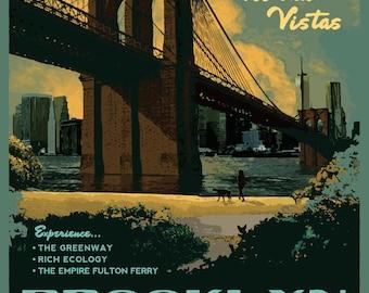 Brooklyn Bridge Park Vintage Poster