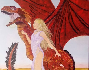 Mother of dragons acrylic painting on canvas