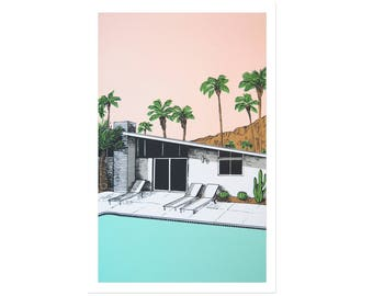 Palm Springs Pool Original Print
