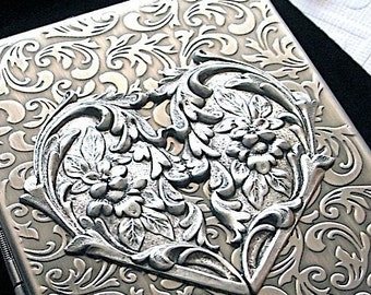 Steampunk Heart Cigarette Case Gothic Victorian Card Holder Art Nouveau Floral Design Rustic Antiqued Silver Tone Finish