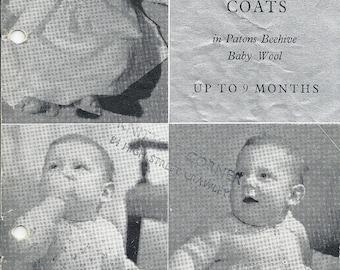 P&B 363 Vintage Knitting Pattern Original Three Matinee Coats Birth to Nine Months