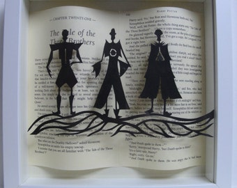 The Three Brothers - WHITE frame. Harry Potter framed art paper cutting. Harry Potter gift - book lovers gift