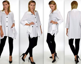 New Aristocratic and Dashing high end Designer Blouse. Size L to 3XL. LagenLook Plus Size