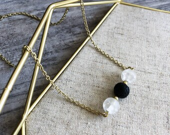 Moonstone Essential Oil Diffuser Bar Necklace, Lava Rock, Aromatherapy, Gift, Handmade, Chain Necklace , Boho Chic