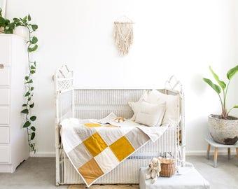Baby Unisex Blanket  -Patchwork Cot Quilt - The Luna ; crib bedding, unisex quilt, gender neutral baby bedding